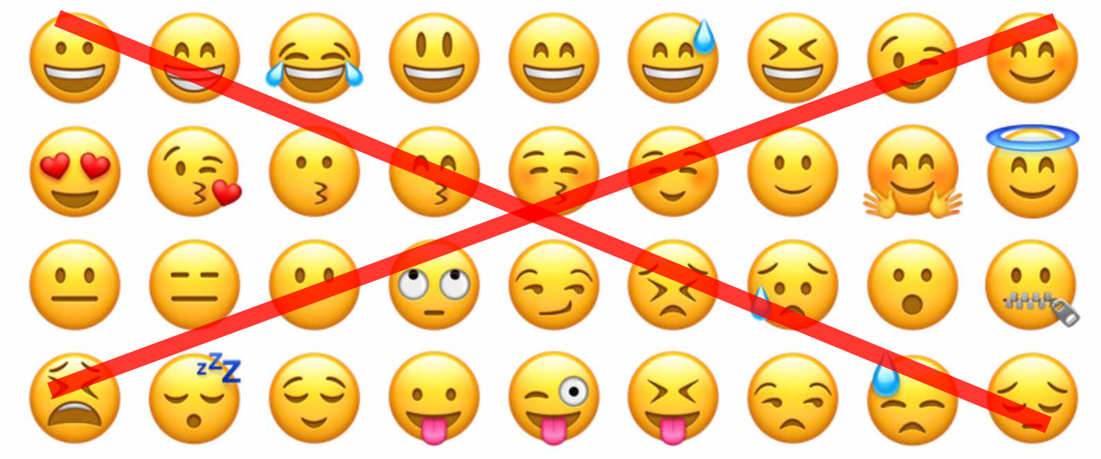 All of the different emojis with a big red cross